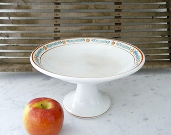 Vintage French Ironstone Plate, Transfer Ware Cake Stand, Fruit Bowl, Footed Pedestal Plate, Ironstone Serving Tray, Transferware, Farmhouse