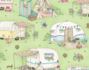 Green Retro Camper Quilt Fabric, Travel Trailer, Glamping, RV, Maywood Studio Roam Sweet Home, MAS8220 G, Glamour Trailers, Cotton