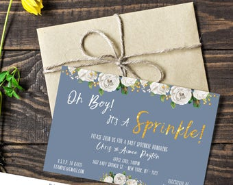 Baby Sprinkle Shower Gold Blue Invitation |  Oh Boy | Electronic FILE 4x6 5x7