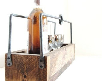 Rustic Tray - Wooden Tray - Wine & Beer Storage - Succulent Plant Holder - Indoor Planter - Herb Planter - Forged Metal Handles
