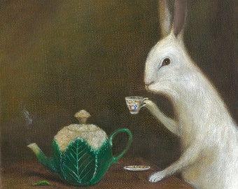 "Fine Art Print of an Original Animal Painting: ""Sipping Green Tea"""