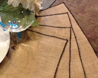 Burlap Placemats with edge stitching in your choice of colors - Holiday Table