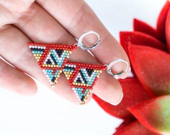 FREE SHIPPING Red Earrings, Seed Bead earrings, Geometric earrings, Abstract earrings, Triangle earrings, Rhombus earrings, Unique Gift