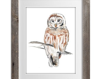 Watercolor Painting Print 'Snow Owl' -- Owl Bird Home/office decor and wall art, Animal print