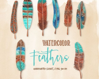 feather watercolor clipart, blue and brown feather graphics, handpainted watercolor clipart for commercial use by SLS Lines
