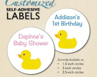 RUBBER DUCKY Baby Shower Stickers, 1st Birthday Favor Labels, Candy Buffet, Mason Jar, Envelope Seals, Duck Stickers, Pink, Blue, Aqua