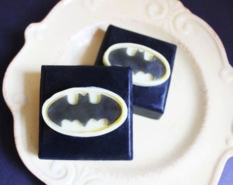 Superhero Batman Soap - Soap Favors, Boys Gift, Party Favors, Super Hero Soap, Soap Bar, Bat Soap, Fun Soap, Comic Book Soap, Glycerin Soap
