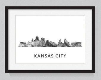 Kansas City, Missouri skyline WB BW