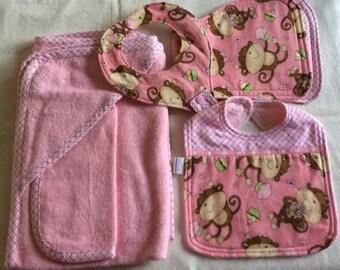 Towel/Washcloth, Burp Cloth, Bib, & Binky Bib Layette Set in Pink - Baby Girl Monkey Themed