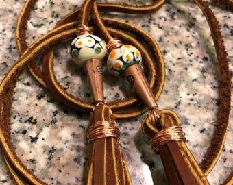 Leather Lariat Necklace - Tassel Jewelry - Tassel Lariat Necklace - Lariat Necklace - Boho Jewelry - Lampwork Wrap Necklace - Handmade Beads