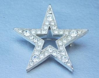 Vintage Star Brooch Pin Clear Sparkly Rhinestone Silver Tone