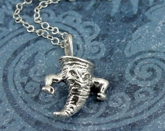 Tornado Twister Necklace, Sterling Silver Tornado Charm on a Silver Cable Chain