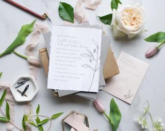 Deckled Edging Wedding Invite, Ripped Edges Wedding Invite, Eucalyptus Sprig Invite, Calligraphy Invite, Blush Wedding Invitation - DEPOSIT