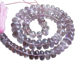 Pink Amethyst Beads, Faceted Rondelles, Luxe AAA, Pink Gemstone, SKU 2976A