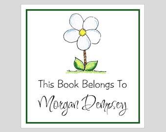 9 Personalized Daisy Book Plate labels, Gift Labels, Stickers, Party Favors