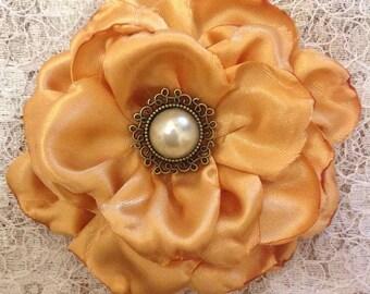 Satin Flower Brooch / Hair Accessory Gold / Burnt Orange Handmade 8cm