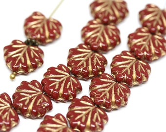 Red Gold glass beads Red maple leaf bead Czech glass leaves Golden inlays pressed leaf 11x13mm - 10Pc - 0322