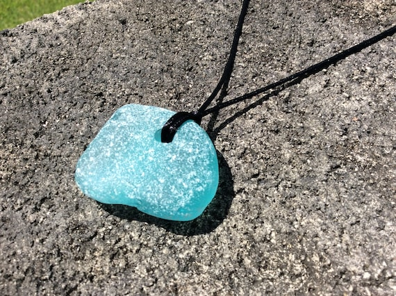 UNISEX - Rare Surf Tumbled XLG Turquoise Seaglass Satin Necklace