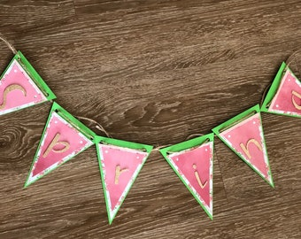 """Spring Banner, 7x5"""" Triangles with Glitter Letters"""