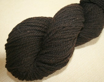 Merino wool yarn, natural dark brown, exceptionally soft, 2 ply worsted weight, 190 yards.