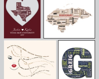 Custom Personalized / Word Art Typography Subway / Wall Art / Home Decor / Unique Gift / Unusual Gift / New family / Anniversary