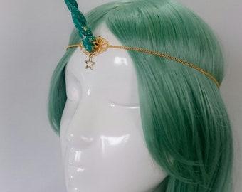 Emerald unicorn horn circlet