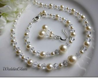 Wedding Jewelry Set, Swarovski Pearl Bridal Jewelry Set, Pearl Necklace Bridal bracelet Jewellery set Bridal Ivory set Bride white pearl set