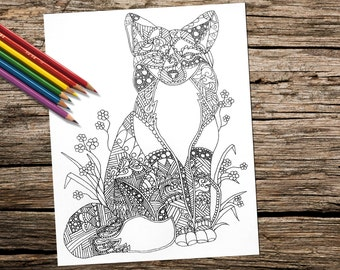 Fox Animal Coloring Book Page, Adult Coloring Book, Coloring Page, Adult Coloring  Page