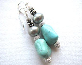 Earrings, drop earrings, Tuequoise nuggets, Sterling beads and findings B-8017