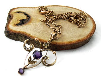 Antique 9ct Gold Amethyst and Pearl Pendant Necklace, Gold Amethyst Pendant, Gold Pearl Pendant, February Birthstone, 18 Inch Necklace,