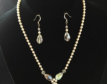 Tatiana Necklace and Earring Set made with Swarovski Crystal Pearls and Swarovski Crystals