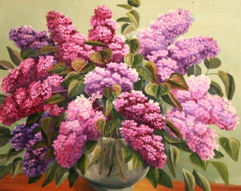 Antique Oil Painting, Still Life Flowers