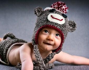 Sock Monkey Hat, Photo Prop, Winter Hats, Crochet Hat for Youth