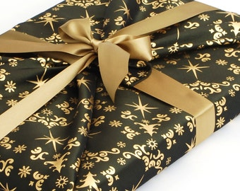 Luxury Reusable Gift Wrapping for Christmas, Happywrap in Green and Gold