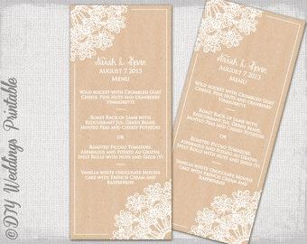 "Rustic Wedding menu template DIY wedding menu -""Lace Doily kraft"" digital printable menu - Boho Editable menu template - download"