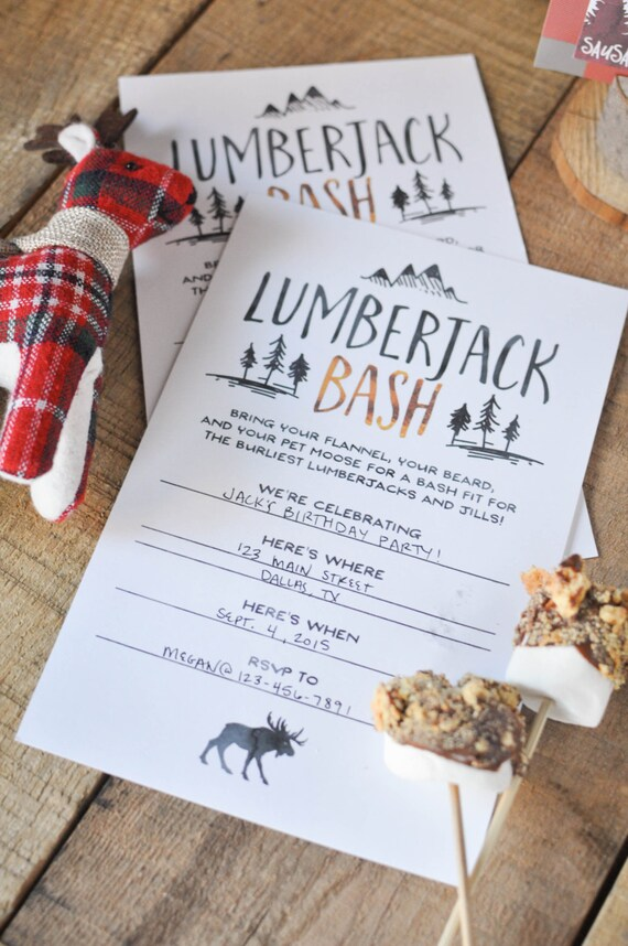 DIY Lumberjack Bash Party Invitations Printable Instant