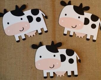 Cow die cut set of 3