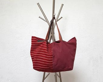 Two-tone linen canvas tote bag and plain Burgundy