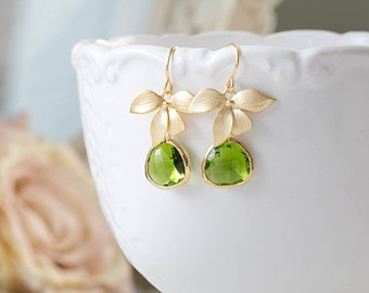 Green Earrings Peridot Green Apple Green Gold Orchid Flower Green Wedding Bridal Jewelry Bridesmaid Maid of Honor Gift August Birthstone
