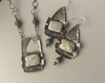 Rustic silver necklace and earrings set, handmade chain, Jasper design