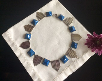 Art Deco Blue Stone and Silver Necklace
