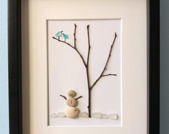 snowman pebble art, sea glass birds, Ch birthday gift, Christmas decor, anniversary gift, #winnipegteam, unframed 8 by 10, by Jenny Love