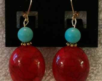 Blue Turquoise and Red Coral Look Gold Tone Earrings