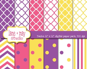 digital papers - pink, purple, and yellow chevron, stripe, quatrefoil and polka dot patterns - INSTANT DOWNLOAD
