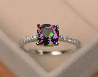 Mystic topaz ring, engagement ring, rainbow topaz, cushion cut, gemstone ring, sterling silver