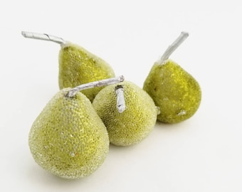 Small Green Beaded Pears   Sugared Pears   Artificial Fruit   Millinery Fruit   Wreath Supplies   Faux Fruit   Fake Pears   The Blue Hutch