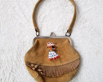 Vintage BLOOM BROTHERS suede leather fringe small change purse seed bead doll USA