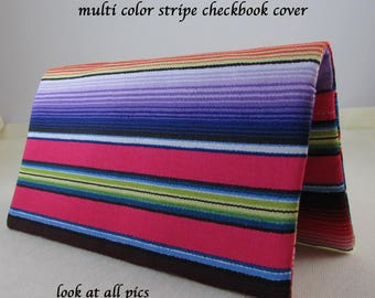 Stripes of Color Checkbook Cover - Coupon Holder - Multi Color - Checkbook Cover Great Gift Idea - Standard Size - Indian Blanket Colors