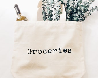 Groceries Bag, Grocery Bag, Grocery Tote Bag, Screen Print Bag, Shopping Bag, Farmer's Market Bag, Book Bag, Storage Bag, Bag Made in USA