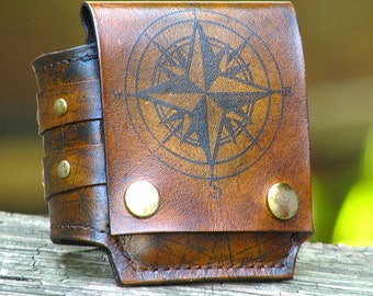 Rustic Leather Wrist Wallet Cuff, Biker Wallet for Men and Women - World Map - MADE TO ORDER Wristband